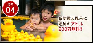 貸切露天風呂に追加のアヒル200羽無料!!